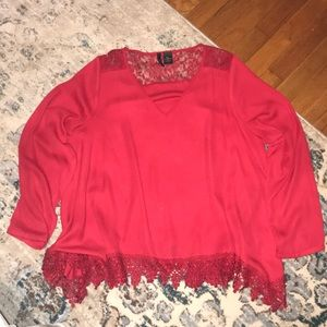Red blouse with lace trim